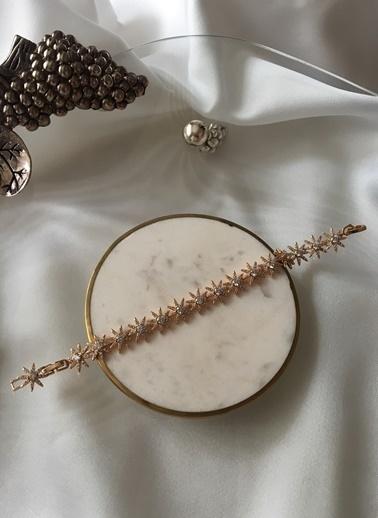 My Joyas Design Özel Seri Zirkon Taşlı Sıralı Yıldız Bileklik Altın